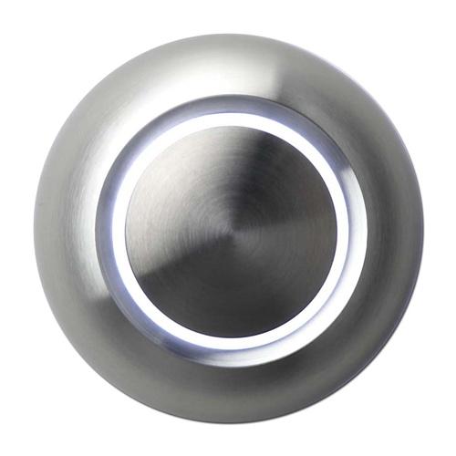 Beleuchtete Design-Türklingel, rund, Aluminiumfront, LED weiss, Aufputz